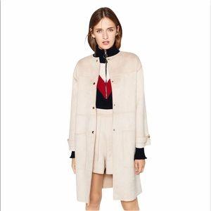 Zara Faux Leather Tan Cream Coat Jacket Large L